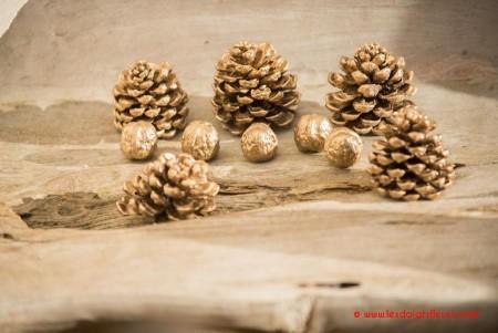 Pomme de pin et noix doré pour les décoration de Noël - Les Doigts Fleuris